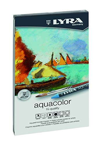 LYRA Aquacolor Water-Soluble Wax Crayons, Set of 12 Crayons, Assorted Colors (5611120) ()