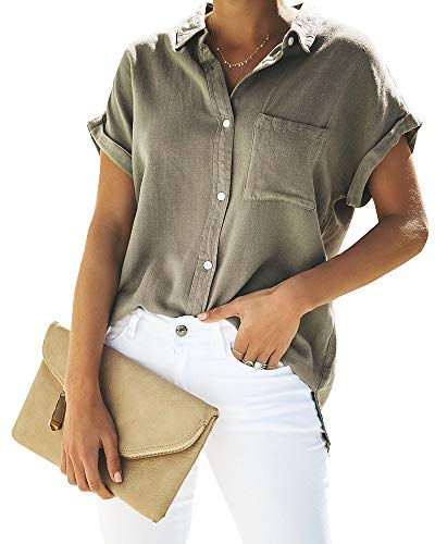 Womens Casual V Neck Blouses Short Sleeve Button Down Shirts Tops Front Pocket Grey
