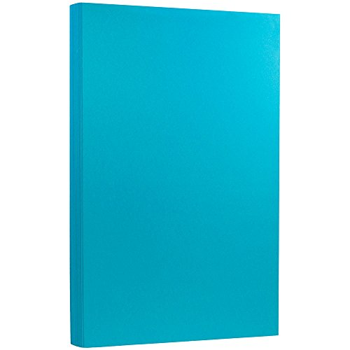 JAM PAPER Legal 65lb Cardstock - 8.5 x 14 Coverstock - Blue Recycled - 50 Sheets/Pack