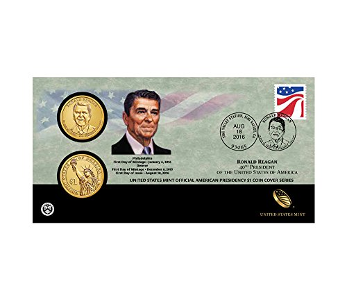 (2016 P&D Ronald Reagan One Dollar Coin Cover 16FC Sealed Package)