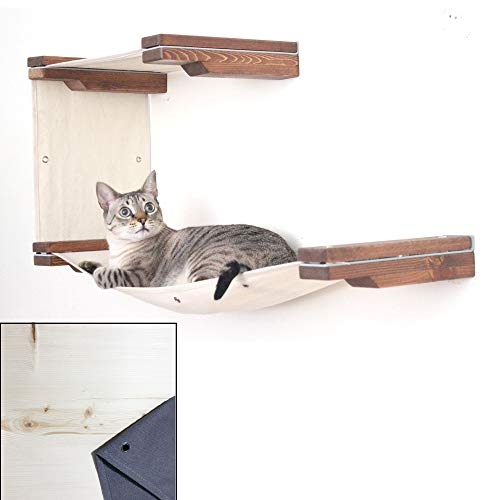 (CatastrophiCreations Cat Mod Double Decker Wall-Mounted Hammock Lounger Shelving for Cats - Unfinished/Charcoal)