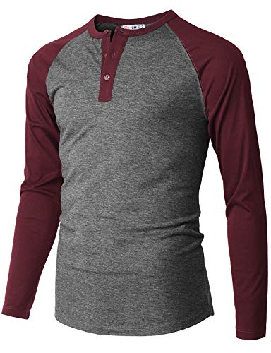 H2H Mens Casual Slim Fit Henley T-Shirts Raglan Baseball Long Sleeve Charcoal US XL/Asia 2XL (CMTTL116)
