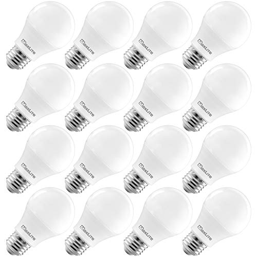 MaxLite A19 LED Bulb, Enclosed Fixture Rated, 60W Equivalent, 800 Lumens, Dimmable, E26 Medium Base, 5000K Daylight, 16-Pack