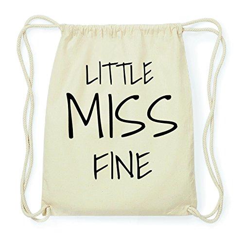 JOllify FINE Hipster Turnbeutel Tasche Rucksack aus Baumwolle - Farbe: natur Design: Little Miss