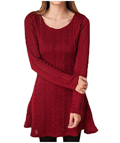Coolred Femmes Tricot Casual Couleur Pure Manches Longues Mince Robes Club Vin Rouge