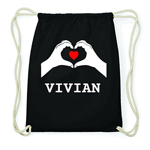 JOllify VIVIAN Hipster Turnbeutel Tasche Rucksack aus Baumwolle - Farbe: schwarz Design: Hände Herz