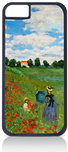Claude Monet-The Poppy Field Near Argenteuil- Case for the Apple Iphone 6 Only-Hard Black Plastic Outer Shell