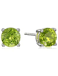 Sterling Silver Genuine and Created Gemstone Round 6mm Birthstone Stud Earrings