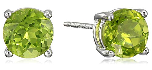 Amazon Essentials Sterling Silver Round Peridot Birthstone Stud Earrings (August) ()