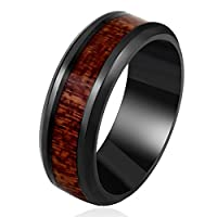 Men's Wedding Bands 8mm Black Tungsten Carbide Engagement Promise Ring with Hawaii KOA Wood Inaly High Polished Finish Comfort Fit Size 7-13