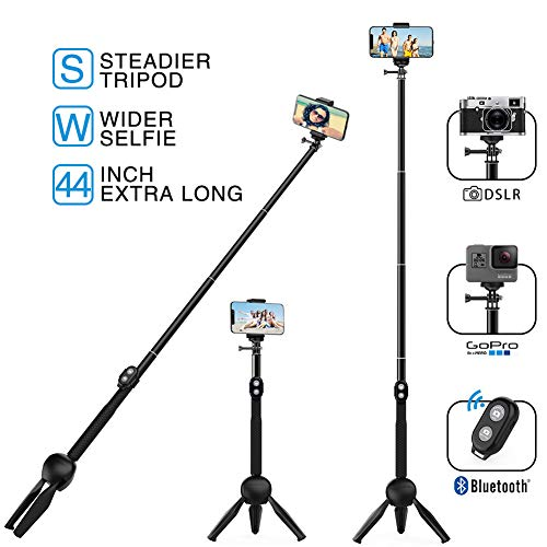 MEIDI Bluetooth Selfie Stick, 12 -38 In Extendable Monopod With Wireless Remote Control, Waterproof Flexible Fashionable And Compatible With ALL Smart Phones & GoPro