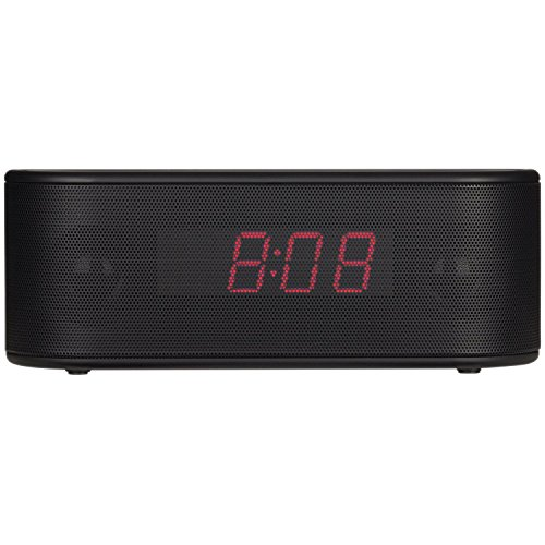 RCA RC345 Bluetooth Alarm Clock Radio Stereo System with Red Display (Black)