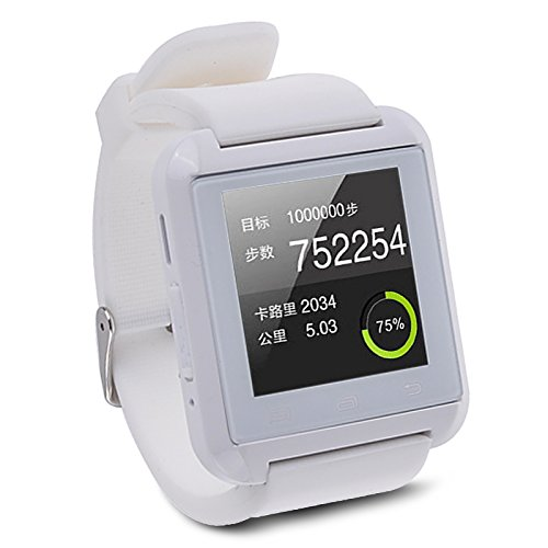 5ive Luxury U8 Bluetooth 2.0 Smart Watch Wrist Wrap Watch Phone for IOS Apple iphone 44S55C5S Android Samsung S2S3S4S5Note 2Note 3 HTC (White)