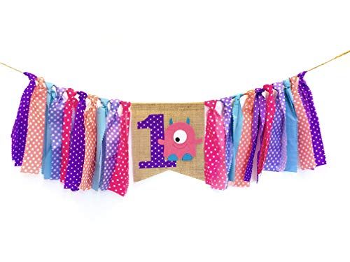 Monster High Themed Party (Monster Themed Party Supplies and Decorations for Baby Girls First Birthday,Little Monster Highchair Banner, Smash Cake Photo Shoot for One Year Old Bday Decor,Chair Garland for Picture Backdrop,Pink Purple Aqua)