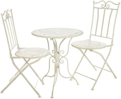 DCasa -Set mesa y 2 sillas forja blanca: Amazon.es: Hogar