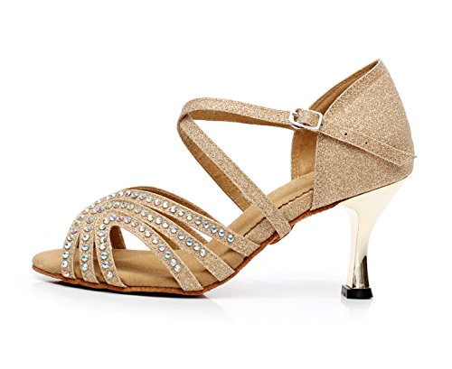 Jazz Tango Brown JSHOE Sandals Salsa Our40 Sparking Latin EU39 heeled7 Heels UK6 Crystals Samba Women's Shoes Satin High Shoe Dance Modern Chacha 5cm TT87F