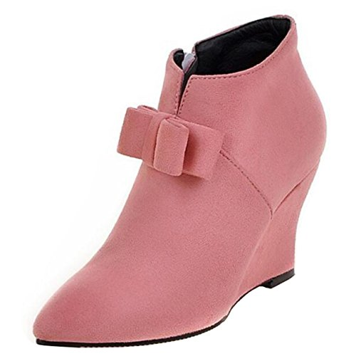 Mashiaoyi Women's Bowknot Pointed-Toe Wedge Heel Zip Chukka Boots Pink hZ9MbWt