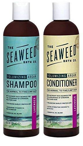 Amazon Com Seaweed Bath Co Volumizing Lavender Organic Natural Shampoo And Conditioner Bundle With Argan Oil Sustainably Harvested Bladderwrack Seaweed Aloe Vera Lavender Essential Oil 12 Fl Oz Each Beauty