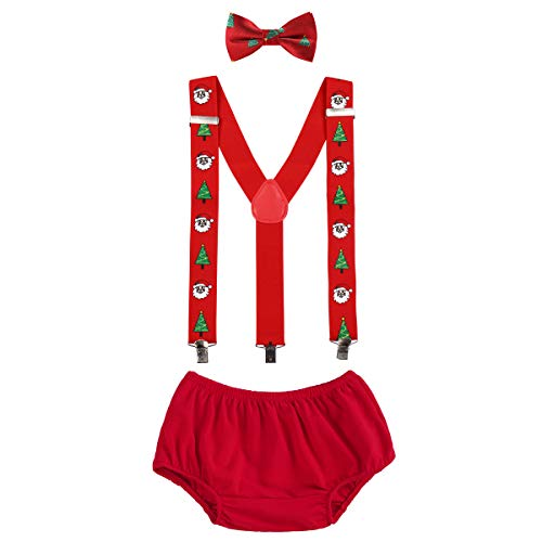 - OBEEII Christmas Holiday Party Baby Toddler Boy Cake Smash Outfits Suspender Bottoms Tie Headband Dress Up Fancy Costume Christmas Tree & Santa Claus