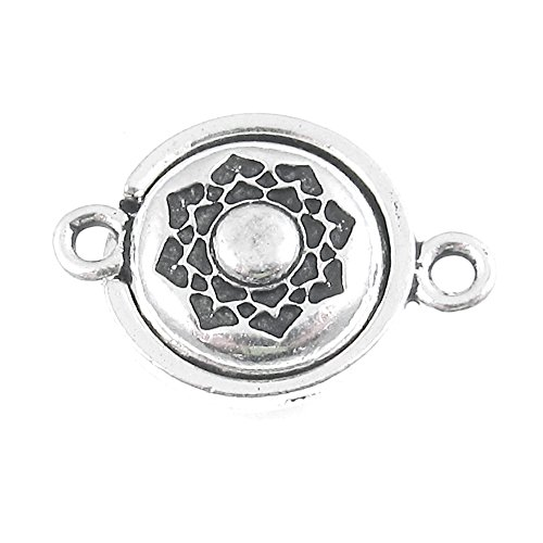 - Silver Lotus Magnetic Clasp, TierraCast Lead Free Pewter Boho Flower (1 Set)
