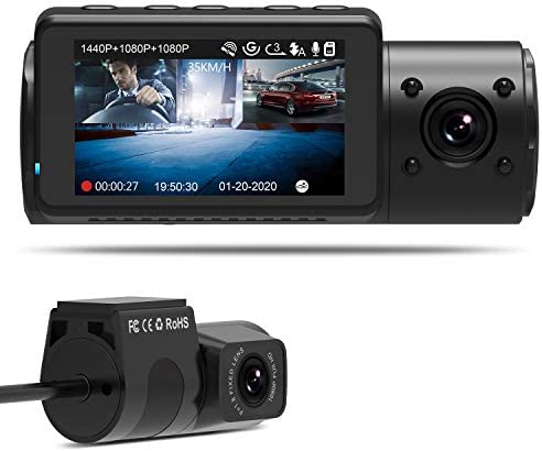 Vantrue N4 Dual Dash Cam 3 Channel 1440P Front 1080P Inside 1080P Rear Triple Dash Camera with Infrared Night Vision, Super Capacitor, 24 Hours Parking Mode, Motion Detection, Support 256GB Max