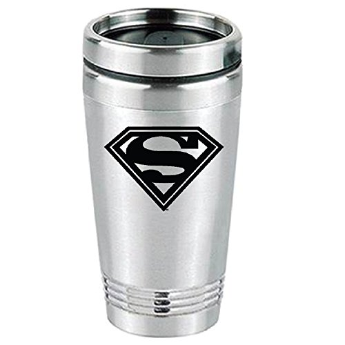 LA Auto Gear Superman Shield Logo Cartoon Superhero DC Comics Movie Stainless Steel Hot or Cold Beverage Travel Mug Tumbler