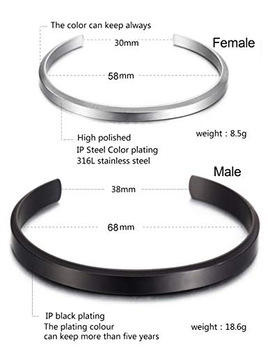 Stainless Steel Gold Plated Adjustable His and Her Matching Set Cuff Bracelet for Couple (NSB1391STCP Free Engraving) by Wistic (Image #5)