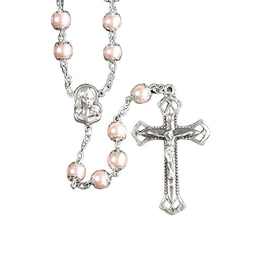 Pink Rosary - Madonna, Crucifix With Pink Pearl Glass Beads Metal 23-Inch Catholic Pendant Rosary