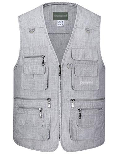 Gihuo Men's Summer Leisure Outdoor Pockets Fish Photo Journalist Vest Plus Size (Large, Light Grey#2)