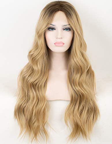 (Persephone Ombre Blonde Lace Front Wig Wavy Soft Brown Roots Ash Blonde Ombre Wigs for Women Glueless Long Wavy Synthetic Wig with Middle Parting Heat Resistant 22 Inches)