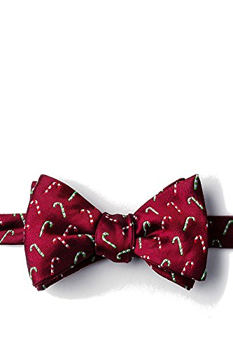 Novelty Silk Red Ties Alynn (Men's 100% Silk Christmas Holiday Candy Canes Bow Tie Neckwear (Red))