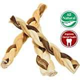 """7"""" Bully Stick Rawhide Braids for Dogs (10 Pack) Natural Bulk Dog Dental Treats & Healthy Chew Bones for Aggressive & Passive Chewers, Beef Best Low Odor Thick Pizzle Stix"""