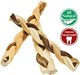"7"" Bully Stick Rawhide Braids for Dogs (10 Pack) Natural Bulk Dog Dental Treats & Healthy Chew Bones for Aggressive & Passive Chewers, Beef Best Low Odor Thick Pizzle Stix"