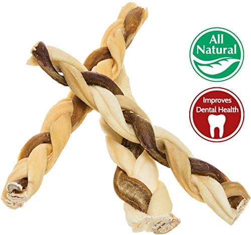 "7"" Bully Stick Rawhide Braids for Dogs (10 Pack) Natural Bulk Dog Dental Treats & Healthy Chew Bones for Aggressive & Passive Chewers, Beef Best Low Odor Thick Pizzle Stix from Pawstruck"