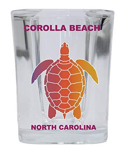 COROLLA BEACH North Carolina Square Shot Glass Rainbow Turtle Design