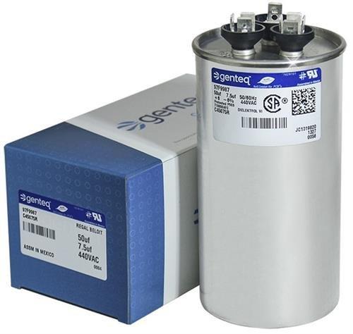 Genteq 50 + 7.5 uF MFD x 440 VAC GE Industrial Replacement Dual Capacitor Round # C45075R / 97F9987 (Capacitor 440v)
