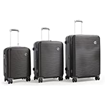TASSINI Lightweight Hard Side ABS 3-Piece Luggage Set with Lock, Checked – Large (IRON GREY)
