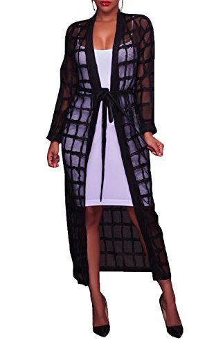 FOUNDO Women's Sexy Long Sleeve Cover Up See Through Lightweight Maxi Cardigan Black M ()