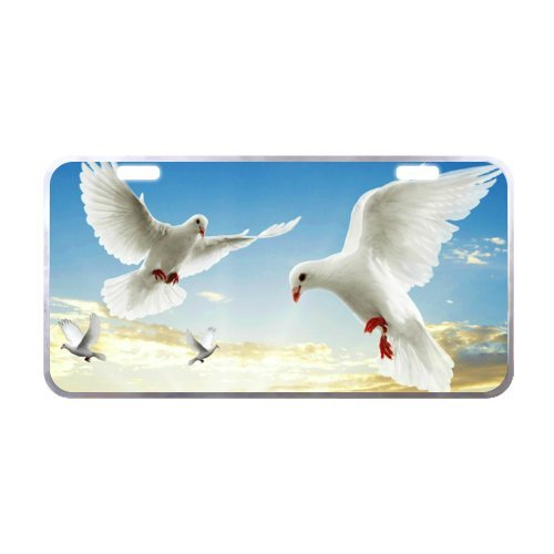 Metal License Plate Stylish White Dove image of Car Made with Aluminum - 6.1 X 11.8 inch Black Trim (Dove Image)