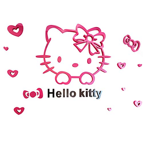 C&NN Hello Kitty Wall Sticker 3D Stereoscopic Acrylic Crystal Wall Stickers for Children Room Bedroom Decor,Hellokitty,S