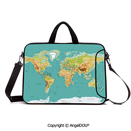 AngelDOU Neoprene Laptop Shoulder Bag Case Sleeve with Handle and Extra Pocket Map of The World Geography Continents and Countries Physical Cartography Image Compatible with MacBook/Ultrabook/HP/Ace