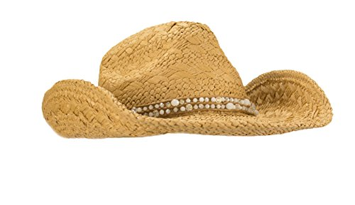 HatQuarters Unique Hand Woven Straw Cowgirl Hat, Shapeable Cowboy Hat, Beaded hatband With Tie (Natural/White Beads)