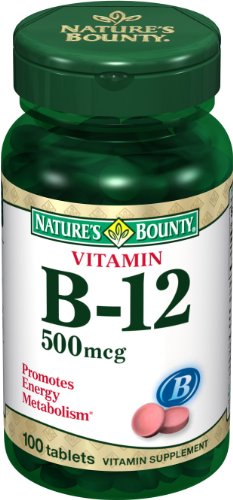 Nature's Bounty Natural Vitamin B12, 500mcg, 100 Tablets (Pack of 4) by Nature's Bounty