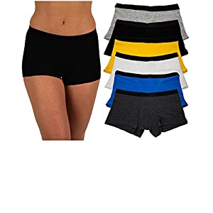 Sexy Basics Women's 6 Pack Modern Active Boy Short Boxer Brief Panties (6 Pack- Assorted Core Solids, XXX-Large)