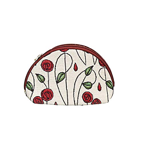 (Charles Rennie Mackintosh Rose Art Nouveau Cosmetic Bag/Ladies Makeup Bag/Beauty Travel Case By Signare Tapestry/COSM-RMSP)