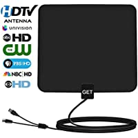 TV Antenna – Get Amplified HDTV Antenna 50~65 Mile Range for Digital TV,Support 4K/1080P/Full HD/VHF/UHF with 13.2ft Coax Cable(Upgraded Version)
