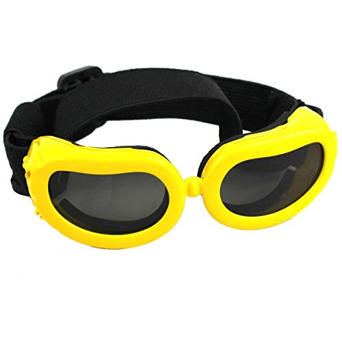 Happylife11 Outdoor Adjustable Dog Goggles, Dog Sunglasses - UV and Wind Proof Waterproof Multi Color Protective Goggles Updated Edition