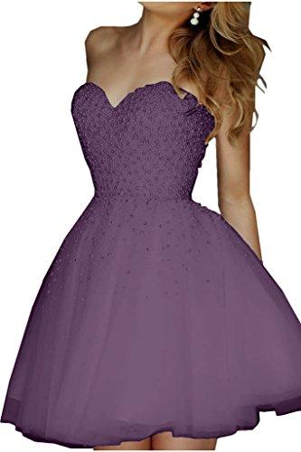 Promgirl House Robe de soirée pour femme, ligne populaire, robe de cocktail avec perles, robe courte -  violet - 34