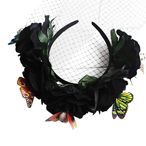 Lurrose Halloween Lace Veil Flower Crown Horror Skull Day Dead Headband Gothic Skeleton Hairbands