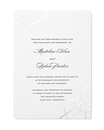 - Silver Foil Swirls Print at Home Wedding Invitation Kit